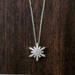 1.00 Ctw Baguette Cut Diamond 14k White Gold Over Snowflake Pendant W/18and039and039 Chain