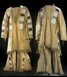 Native American Sioux Style Suede Leather Fringes And Beads Work War Shirt And Pants