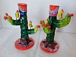 Vintage Mexican Tree Of Life Folk Art Pottery Candle Holders Candelabras Pair