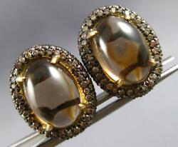 Large 3.5ct Mocha Diamond And Aaa Smoky Topaz 18kt Yellow Gold 3d Clip On Earrings