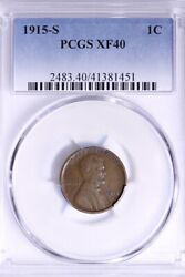 1915-s Lincoln Wheat Cent Penny Pcgs Xf40 Free Shipping 1-amm