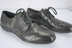 Prada Toblac Lace Up Dress Shoes Size 9e Wide Black Leather Rubber Sole Oxford