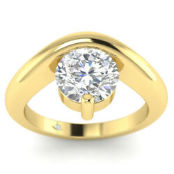 0.73ct D-si1 Diamond Floating Engagement Ring 14k Yellow Gold Any Size