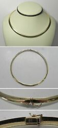 J925 Estate Italy 14k Solid Yellow Gold Omega Style 16 Choker Necklace 39.1g