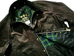 Hot Barbour A104 Bedale Waxed Cotton Plaid Lined Red Burgundy Coat Jacket C50 Xl