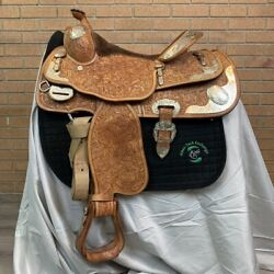 Billy Cook Western Show Saddle 14.5 Seat Semi Qh Bars Matching Breast Collar