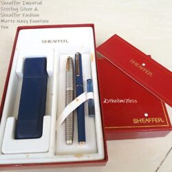 Sheaffer Imperial Sterling Silver And Fashion Matte Navy Fountain Pen Full Set