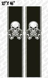 Red Truck Bed Decals - Skull And Pistons Stickers - Universal Fit Pair X2 Red