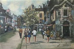 Louis Basset Paris Signed Oil Painting On Canvas 24 X 36 French France Art