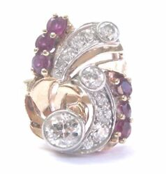 Vintage Rose Gold Old European Cut Diamond Ruby Cocktail Jewelry Ring 1.65ct