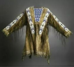 Native American Sioux Western Suede Leather Jacket Fringe And Beads Work War Shirt