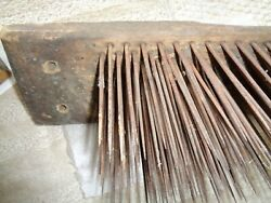 Large Antique Wool Comb Box Cover Long Nails Authentic Hand Made 1800 Barn Wood