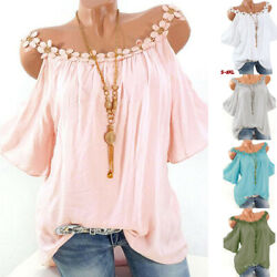Women Summer Lace Neck Cold Shoulder T Shirt Soft Casual Solid Blouse Loose Tops $12.31