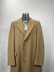 Hart Schaffner Marx Gold Trumpeter 100 Cashmere Overcoat 46r Free Shipping