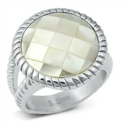 Nwt Women Stainless Steel Ring Size 9 New Modern Silver Mother Of Pearl