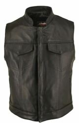 Menand039s Made In Usa Horsehide Leather Motorcycle Vest With Hidden Snaps
