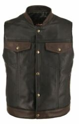Men's Made In Usa Horsehide Stand Up Collar Leather Two Tone Motorcycle Vest