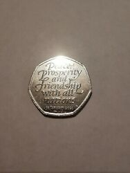 Rare Genuine Brexit 50p Peace Prosperity And Friendship With All Nations 2020