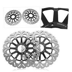 Front Brake Disc Rotors Steel Black Fit Ducati 1098 S1100 2007-2008 High Quality