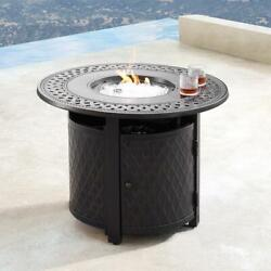 Outdoor Propane Fire Pit Table Heater W Beads Covers 34 Round Aluminum Copper