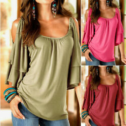 Womens Summer T Shirt Flare Short Sleeve Cold Shoulder Casual Loose Solid Blouse $13.75