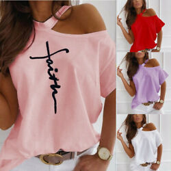 Women Summer Short Sleeve T Shirt Cold Shoulder Casual Loose Print Solid Blouse $14.61