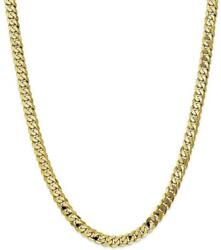 24 10k Yellow Gold 6.75mm Flat Beveled Curb Chain Necklace