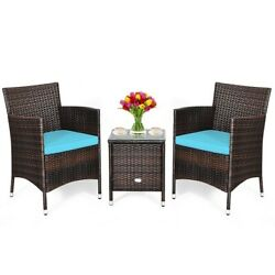 3pcs Patio Furniture Set Cushioned Sofa With Coffee Table Indoor And Outdoor
