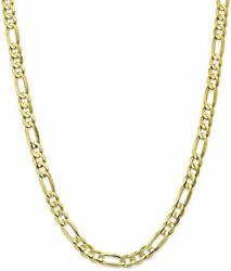 22 10k Yellow Gold 6.75mm Light Concave Figaro Chain Necklace