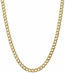 26 14k Yellow Gold 7mm Semi-solid Curb Chain Necklace