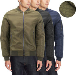 Menand039s Insulated Metal Zipper Full Zip Up Quilted Lining Flight Bomber Jacket