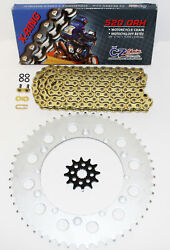 Cz Orhg Gold X Ring Chain And Sprocket 13/49 114l 1987-1992 1997-1998 Yamaha Yz125