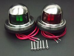 Pair For Marine Boat Yacht Pontoon 12v Stainless Steel Led Bow Navigation Lights