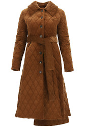New A.w.a.k.e. Mode Quilted Corduroy Coat Pss21 C03 Co17 Brown Authentic Nwt