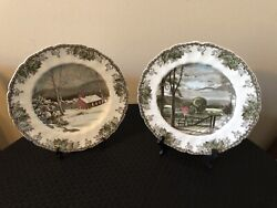 2 Johnson Brother's The Friendly Village Hayfield And School House Dinner Plates