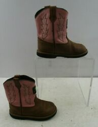 Infant John Deere Brown / Pink Leather Western Cowgirl Boots Size 8 M