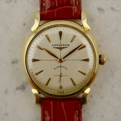 C.1954 Vintage Longines Automatic Calatrava Watch Cal.22a In 14k Yellow Gold