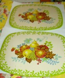 2 Vintage 1950's Pro-tex Metal Table Coasters, Kitchen Hot Pads Or Plates