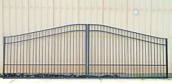 Steel - Iron Driveway Entry Gate 16 Ft Wide Dual Swing Inc Post Pkg Residential