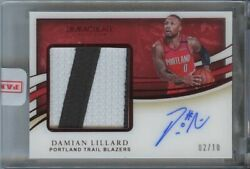 Damian Lillard 2019 20 Immaculate Collection Game-used 2 Color Patch Auto 2/10