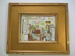 Toberen Signed Vintage Gallery View Painting Interior Hanging Art Impressionist