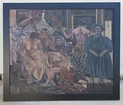 Vintage 1950and039s American Nude Female Figures Interior Impressionism Oil Painting