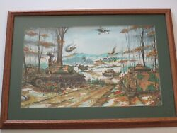 Vintage War Battle Military Painting Army Tanks Jets Missiles Helicopter Bombs