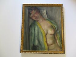 Jean Dehelly Opil Painting Antique Rare Actor Artist Paris French Nude Woman