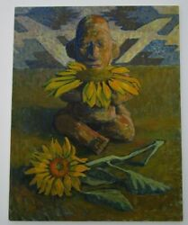 Vintage Modernist Painting Ancient Indian Relic Tribal Sunflower Still Life 28