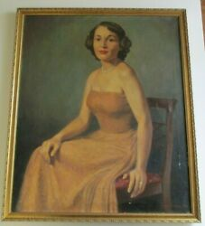 Antique Oil Painting 1940's Female Woman Women Model Pretty Listed American Art