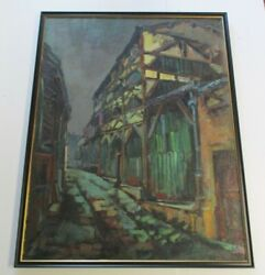 Joan Mas Painting Paris 1960's Large Abstract Expressionism Urban Modernism Vntg