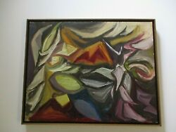 Vintage 1950and039s Oil Painting Jennings Signed Abstract Expressionism Modernism