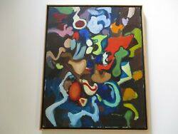 Vintage 1960and039s Oil Painting Jennings Signed Abstract Expressionism Modernism