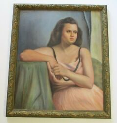 Antique Oil Painting By Mcfarland Signed Young Woman Girl Model Pink Dress
